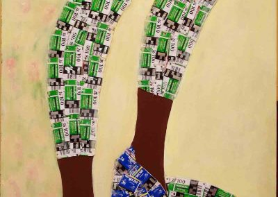 Artist- Taiye Idahor Title-Change of name series 9, 2x4ft, film catridge, news print, acrylic paint, on wood 2012 copy